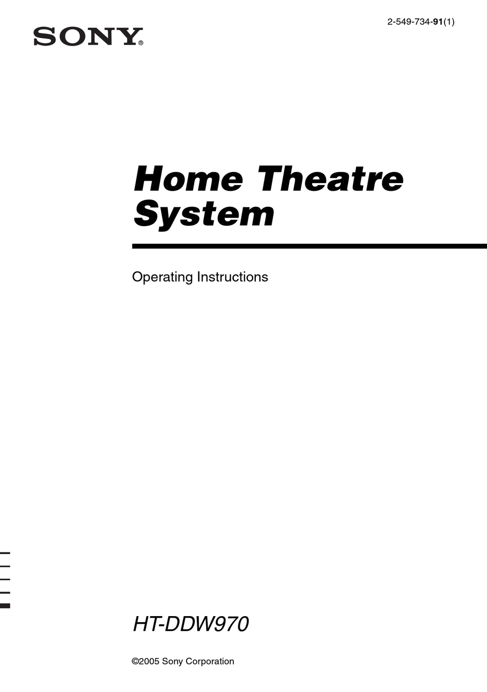 SONY HT-DDW970 OPERATING INSTRUCTIONS MANUAL Pdf Download