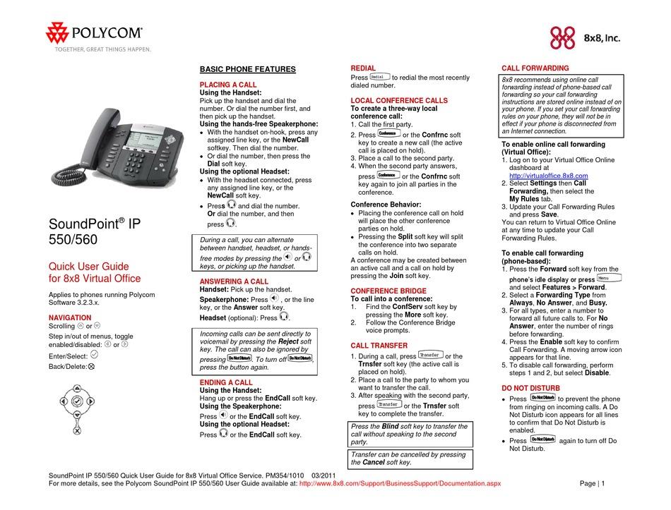 POLYCOM SOUNDPOINT 550 QUICK USER MANUAL Pdf Download