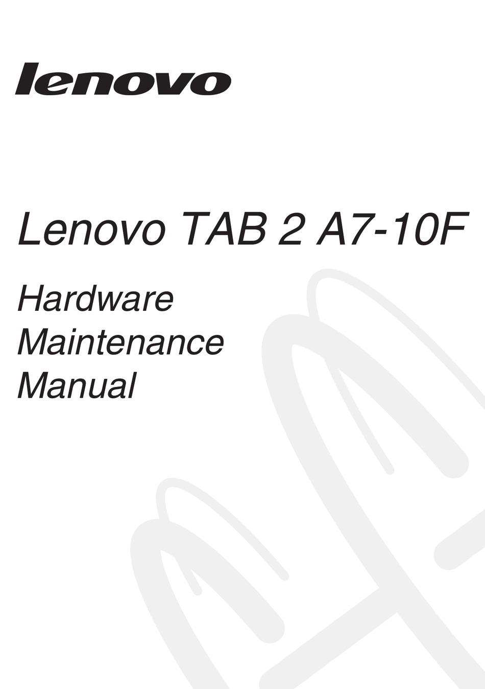 LENOVO TAB 2 A7-10F HARDWARE MAINTENANCE MANUAL Pdf