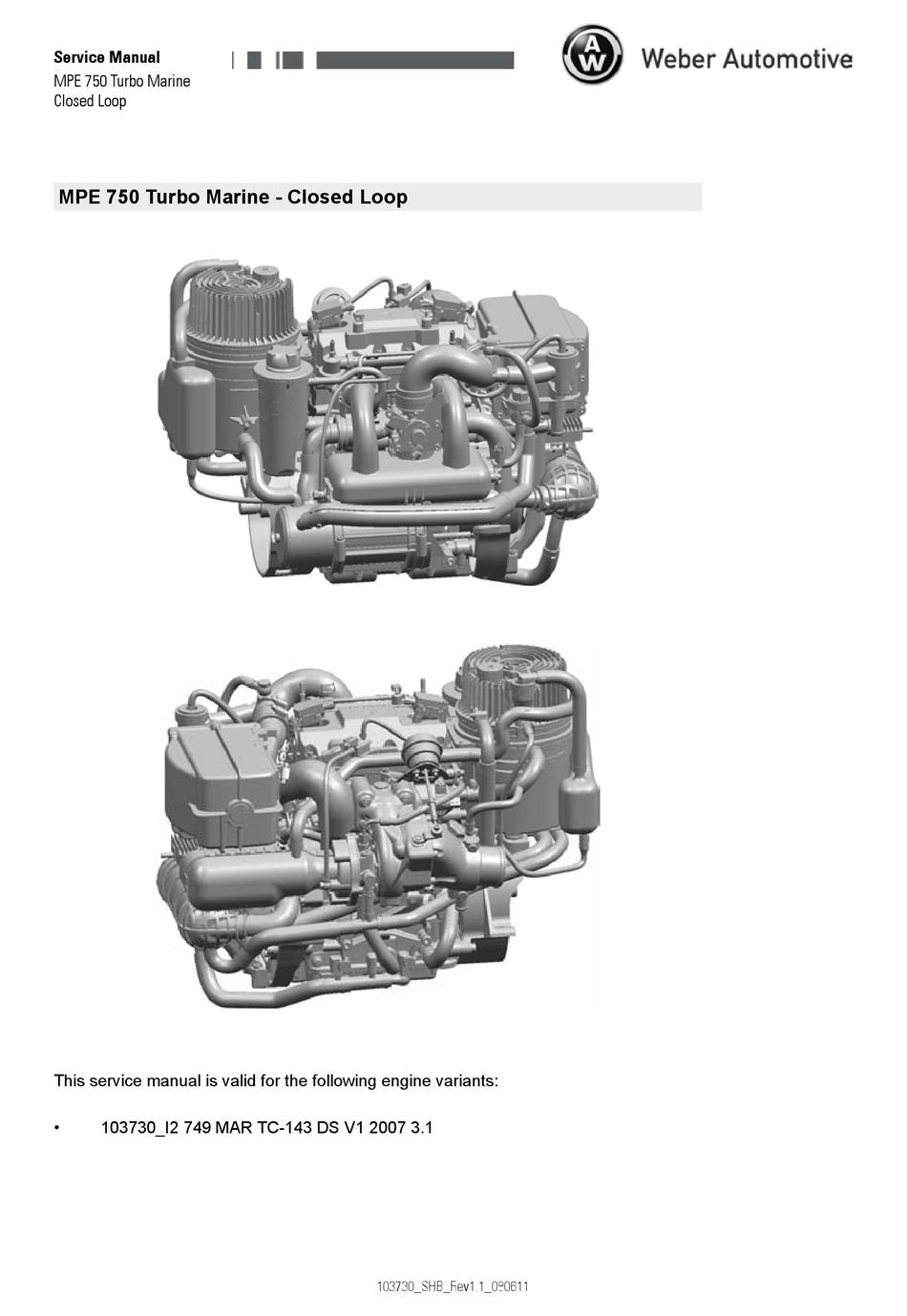 WEBER AUTOMOTIVE MPE 750 TURBO MARINE SERVICE MANUAL Pdf