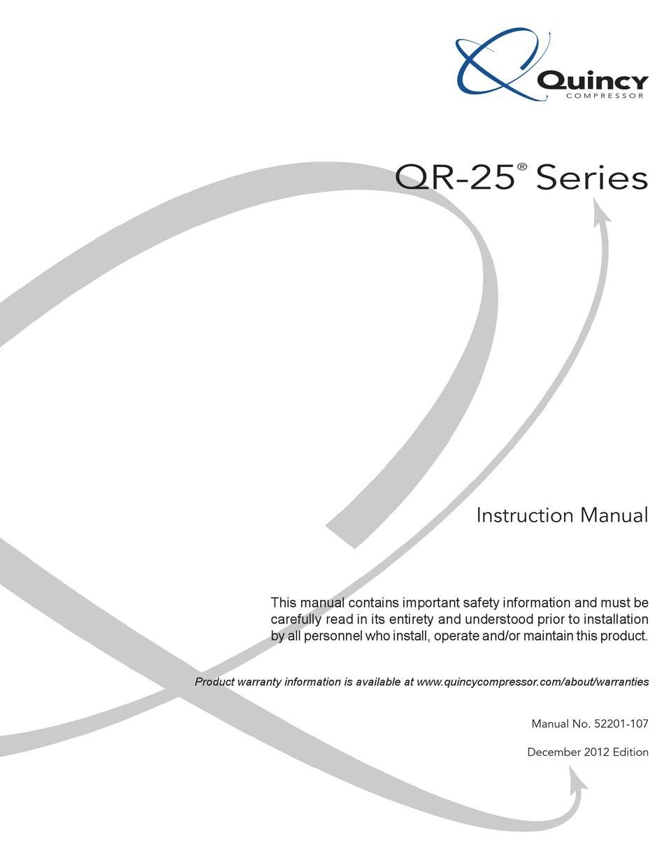 QUINCY COMPRESSOR QR-25 SERIES INSTRUCTION MANUAL Pdf