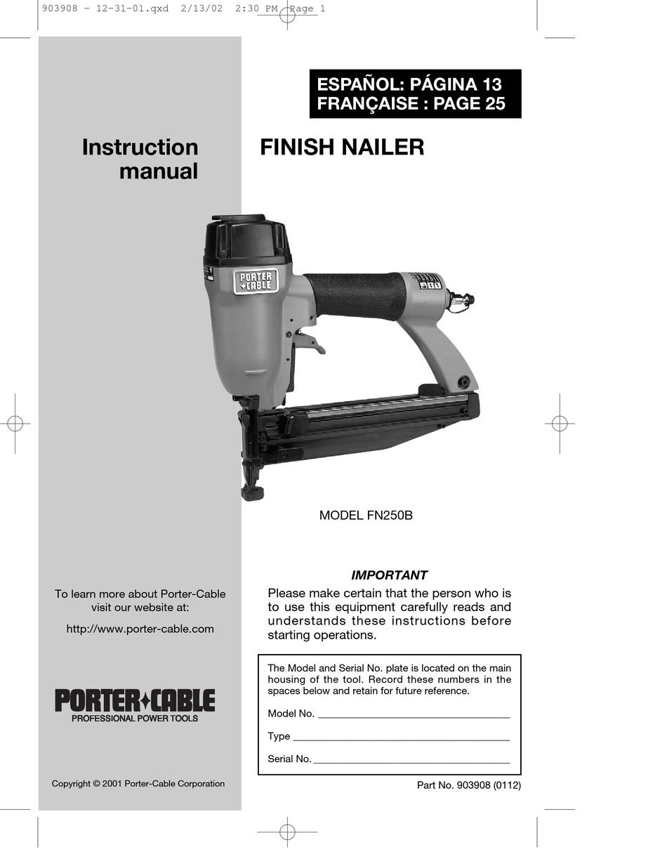 Porter Cable Fn250 : porter, cable, fn250, PORTER-CABLE, FN250B, INSTRUCTION, MANUAL, Download, ManualsLib