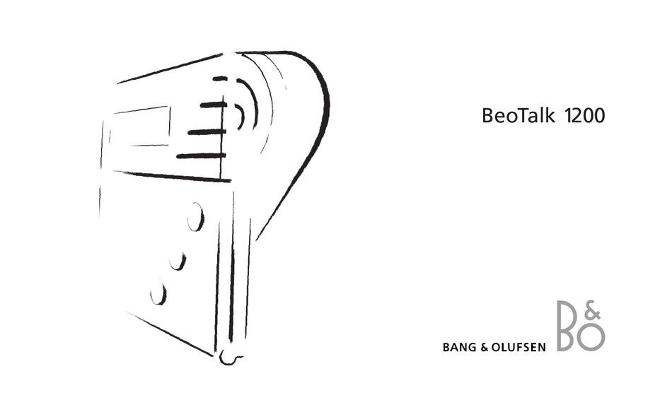 BANG & OLUFSEN BEOTALK 1200 USER MANUAL Pdf Download