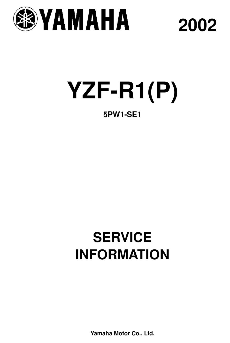 YAMAHA YZF-R1(P) 2002 SERVICE INFORMATION Pdf Download