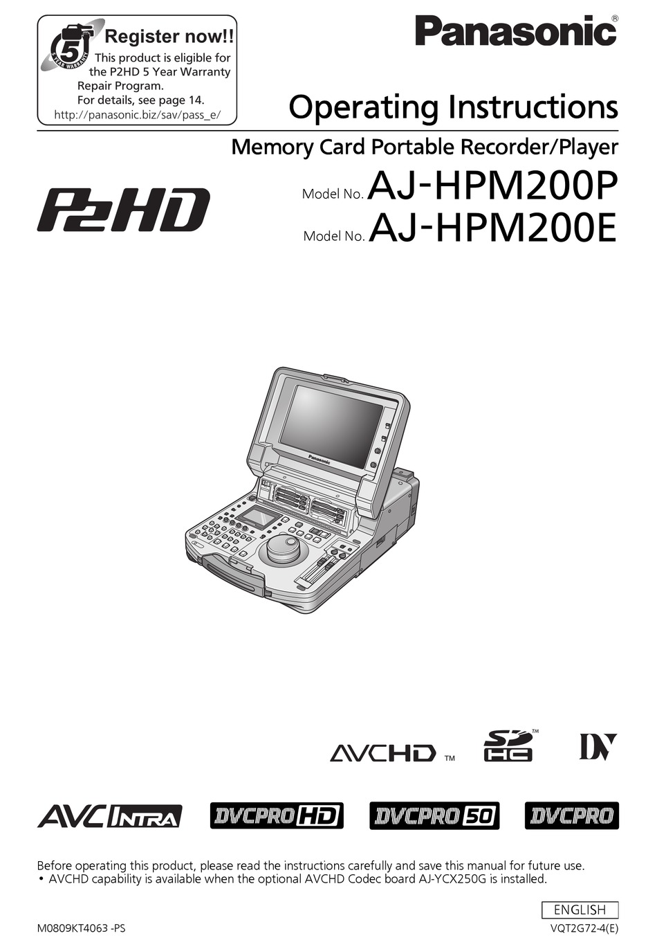 PANASONIC AJ-HPM200P OPERATION INSTRUCTION MANUAL Pdf