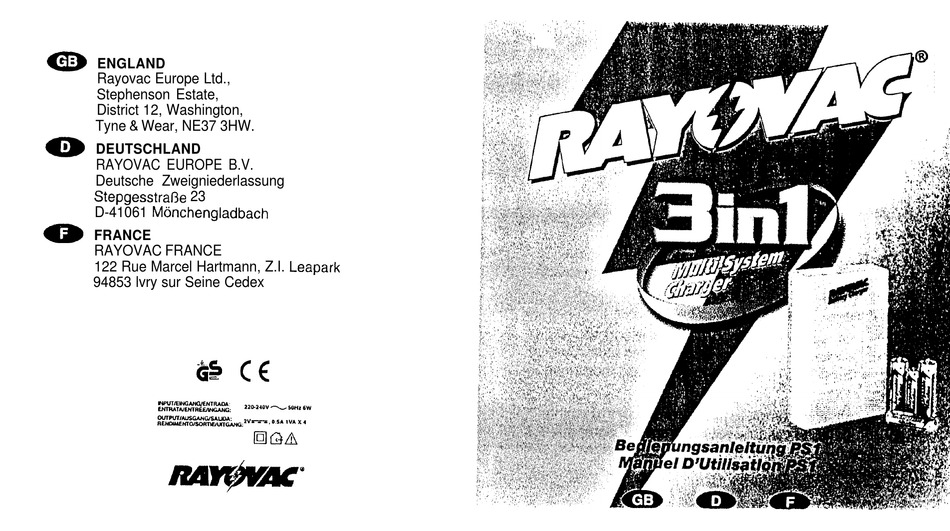 RAYOVAC MULTI-SYSTEM CHARGER 3-1 USER MANUAL Pdf Download