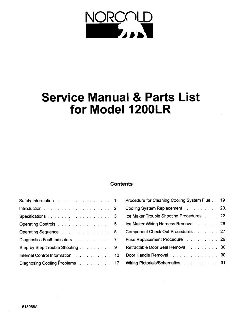 NORCOLD 1200LR SERVICE MANUAL & PARTS LIST Pdf Download