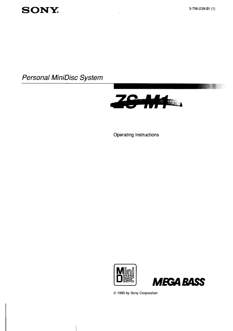 SONY ZS-M1 OPERATING INSTRUCTIONS MANUAL Pdf Download