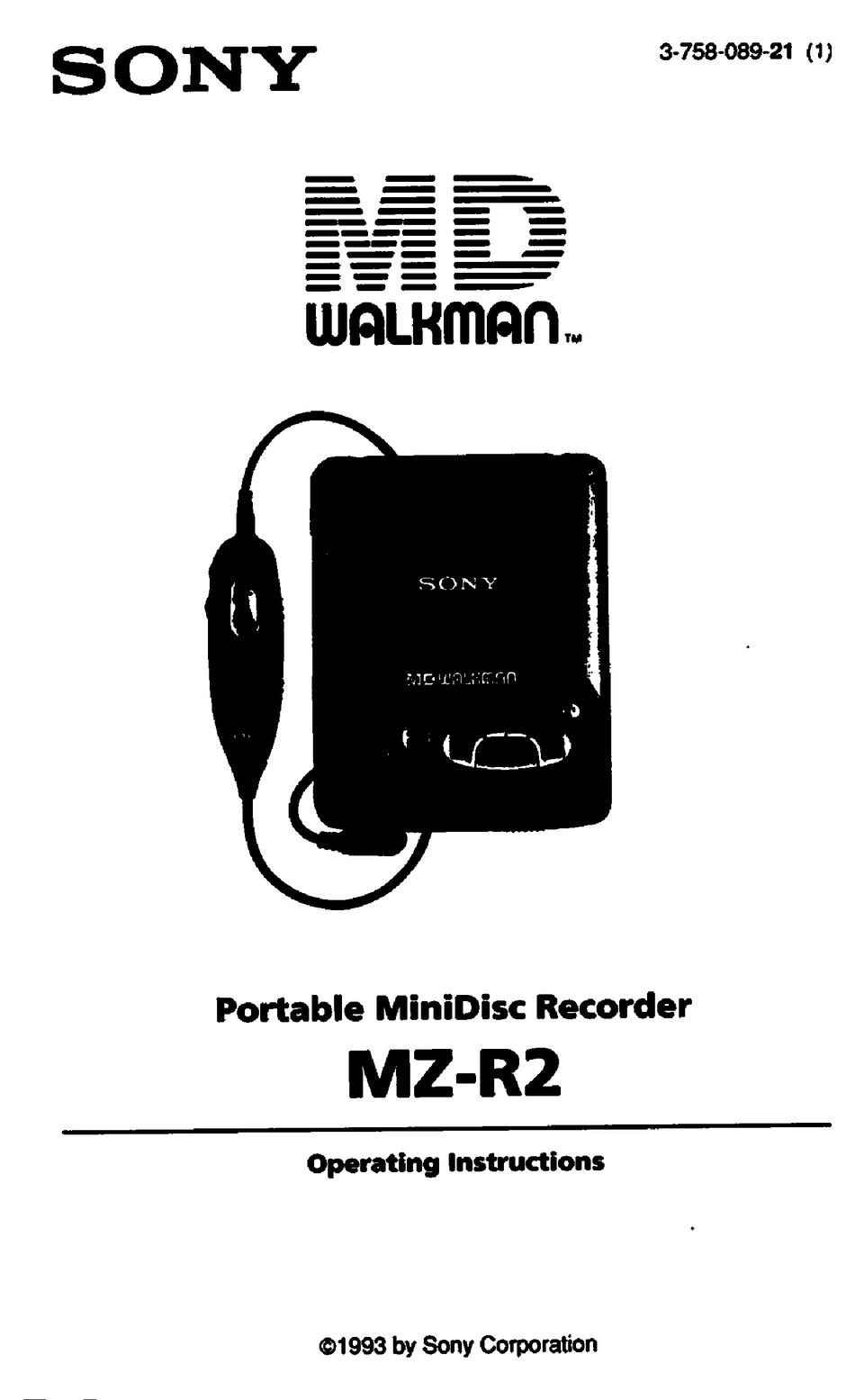 SONY MD WALKAMN MZ-R2 OPERATING INSTRUCTIONS MANUAL Pdf