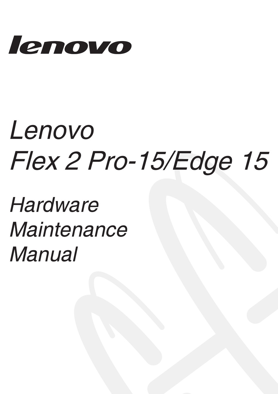 LENOVO FLEX 2 PRO-15 HARDWARE MAINTENANCE MANUAL Pdf