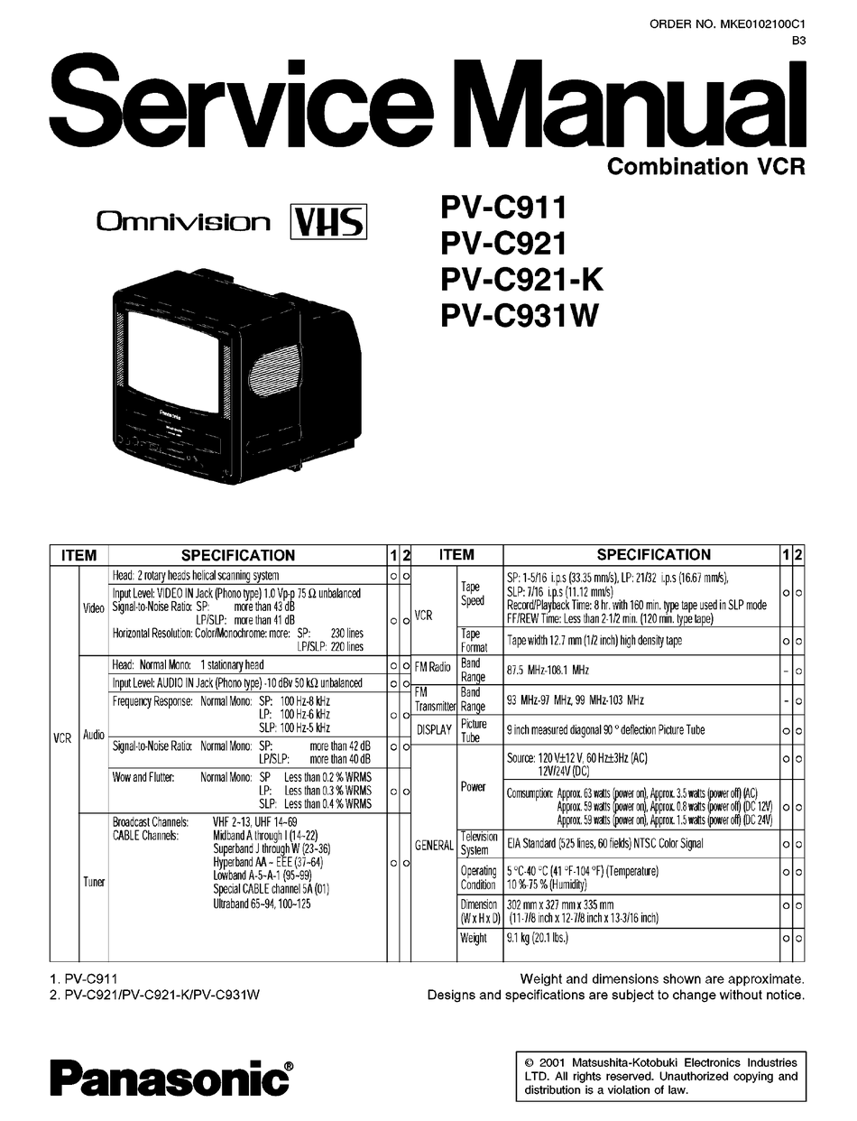 PANASONIC OMNIVISION PV-C911 SERVICE MANUAL Pdf Download