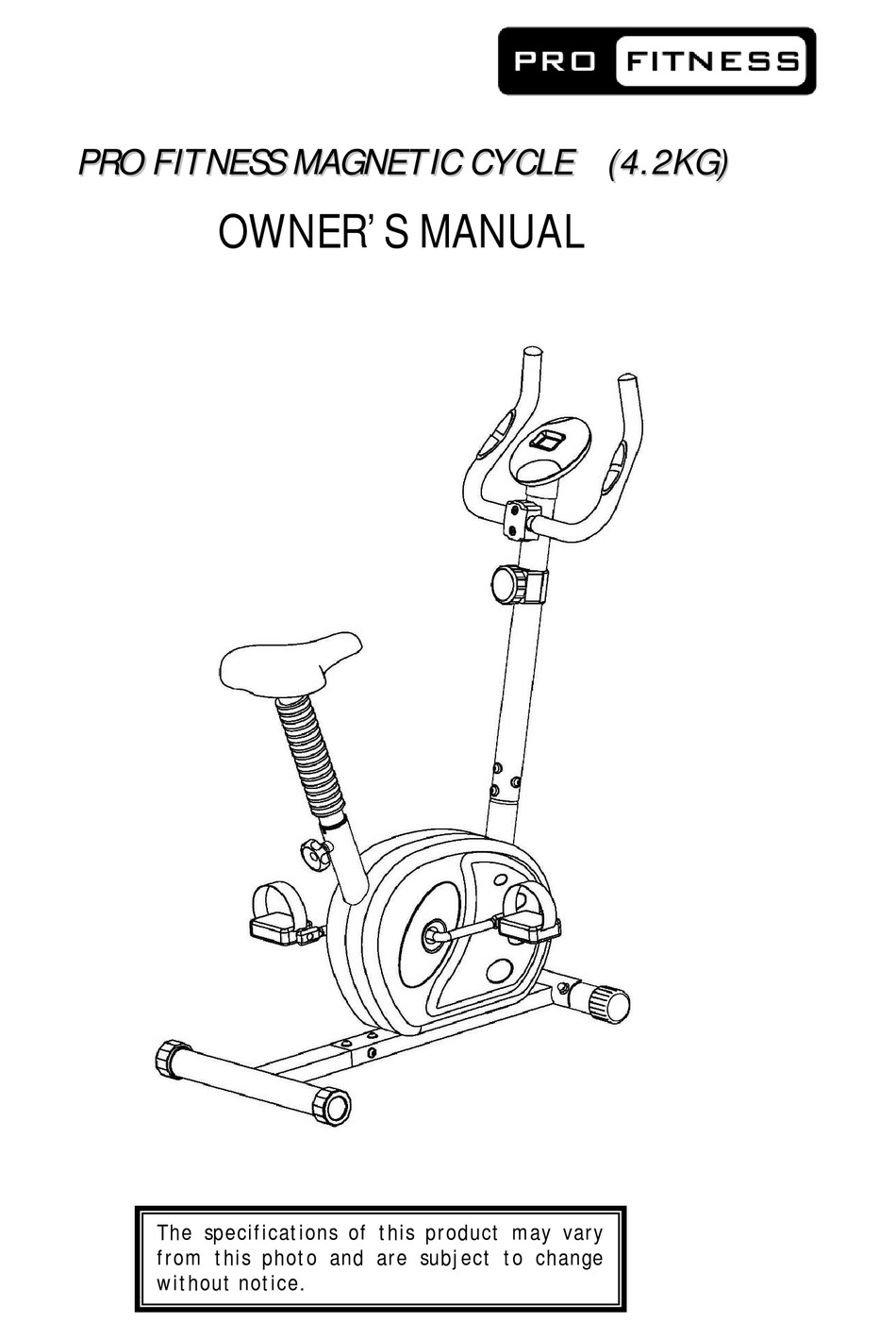 PRO FITNESS MAGNETIC CYCLE OWNER'S MANUAL Pdf Download