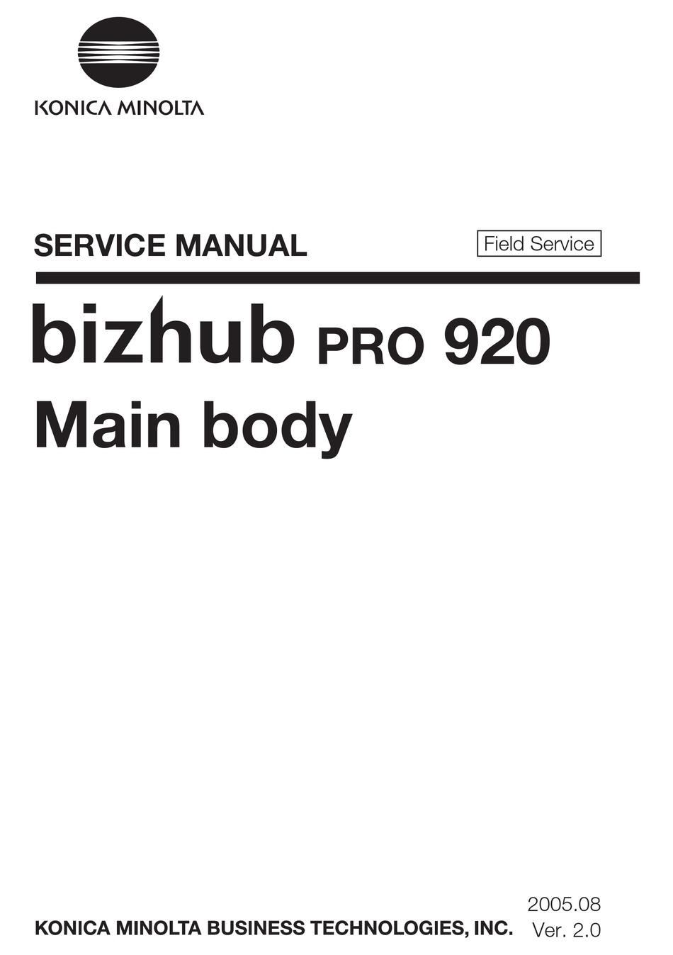 Parts Guide Manual Bizhub 920 Bizhub Pro 920