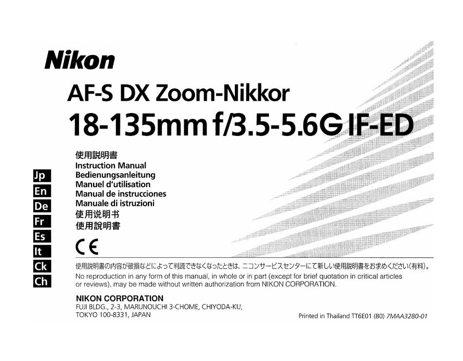 NIKON 18-135MM F/3.5-5.6G IF-ED INSTRUCTION MANUAL Pdf