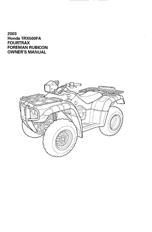 HONDA TRX500FA FOURTRAX FOREMAN RUBICON 2003 OWNER'S