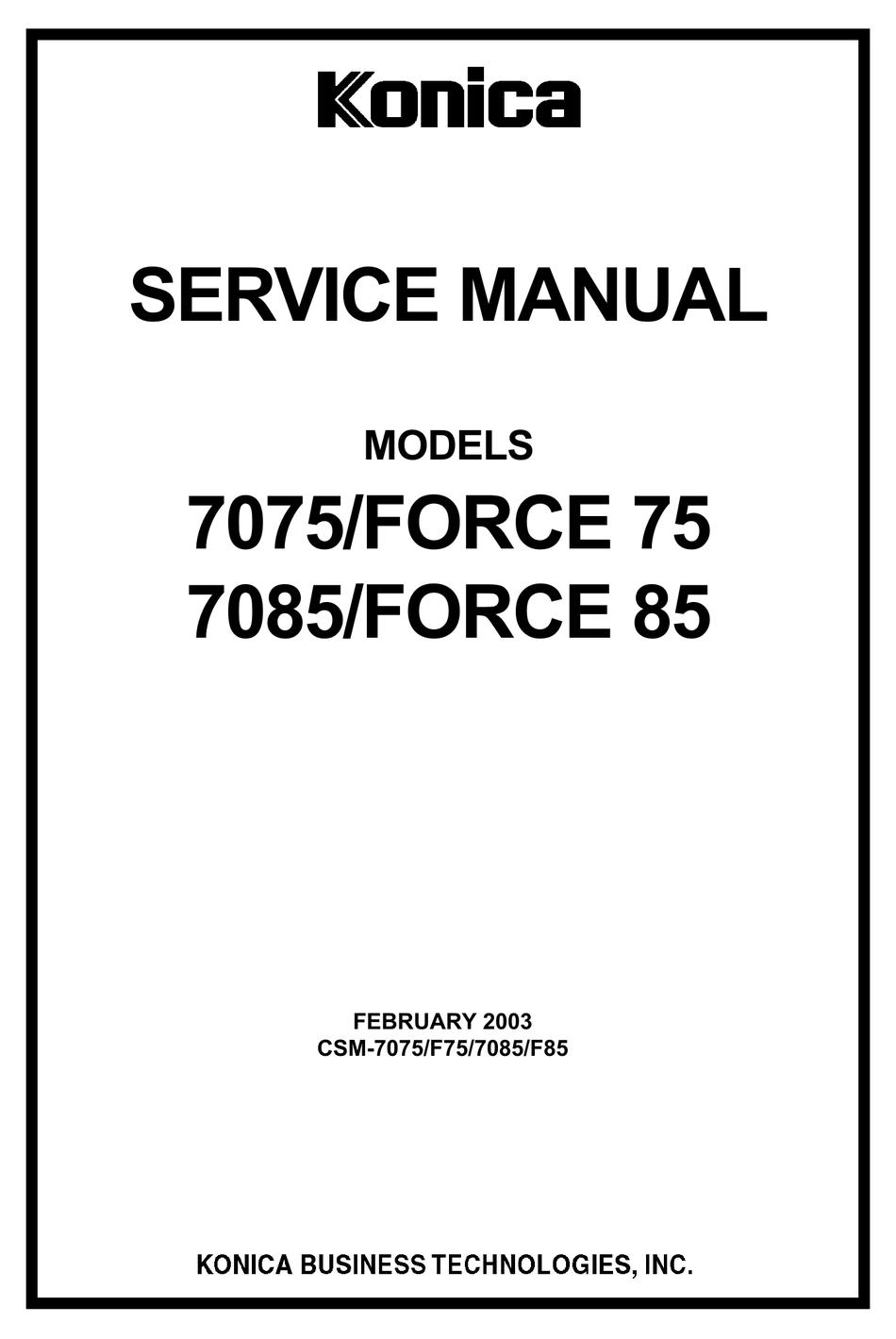 KONICA MINOLTA 7085/FORCE 85 SERVICE MANUAL Pdf Download