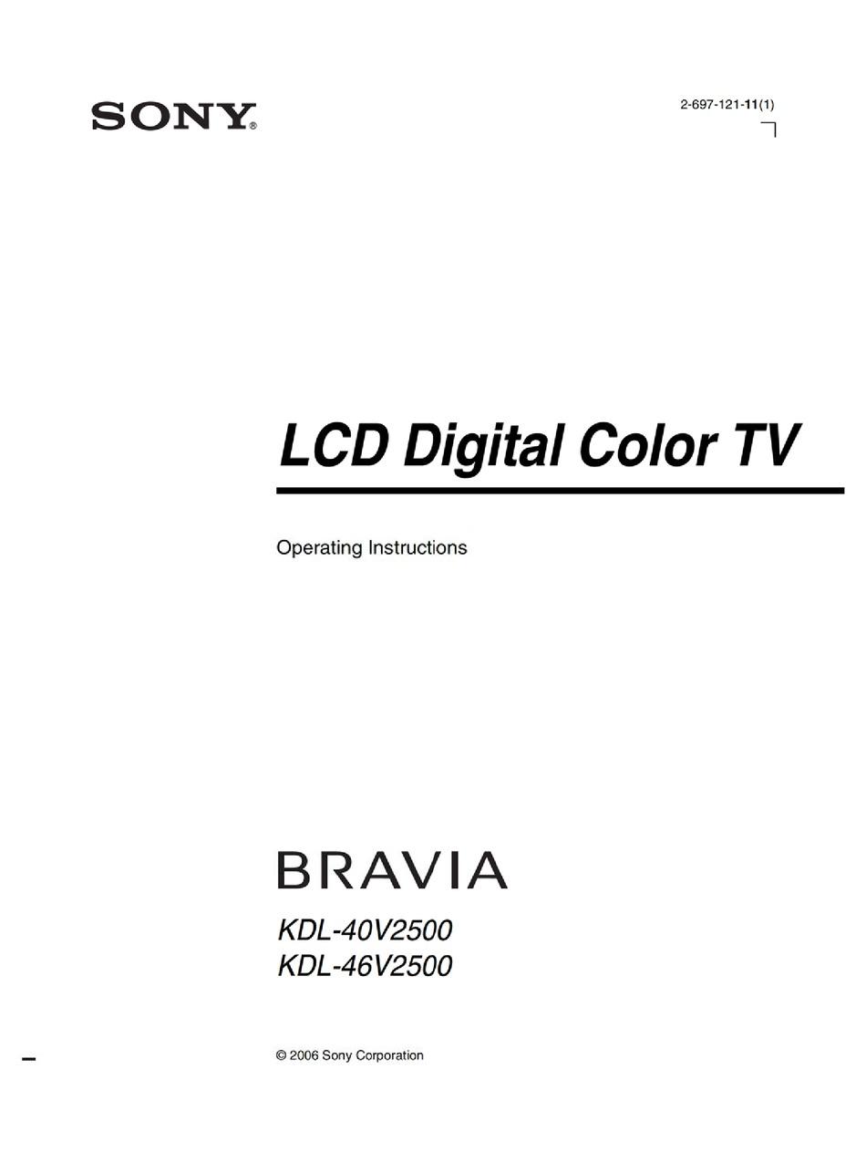 SONY BRAVIA KDL-40V2500 OPERATING INSTRUCTIONS MANUAL Pdf