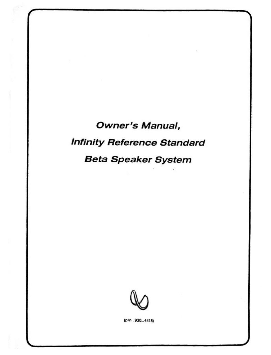 INFINITY REFERENCE STANDARD BETA SPEAKER SYSTEM OWNER'S
