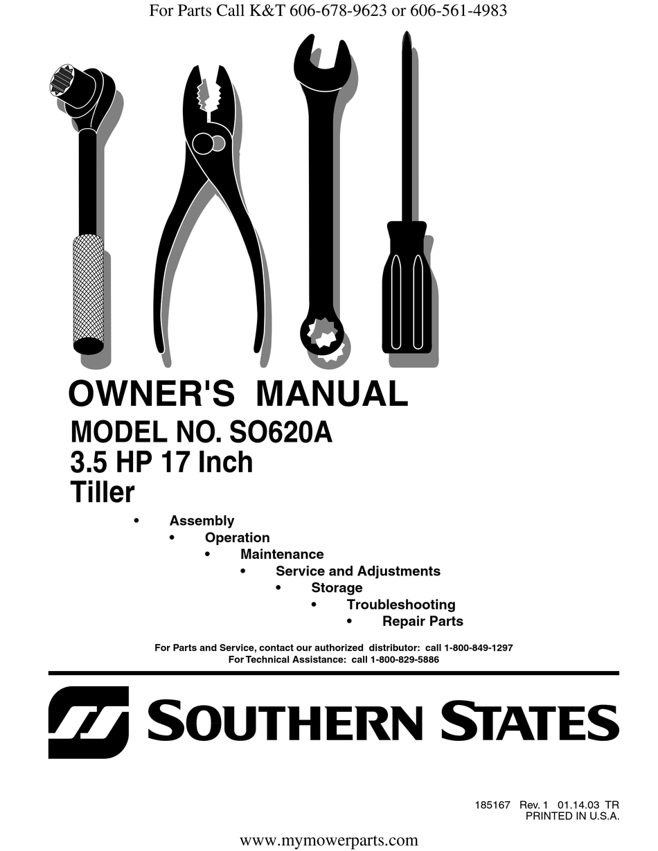 SOUTHERN STATES SO620A OWNER'S MANUAL Pdf Download