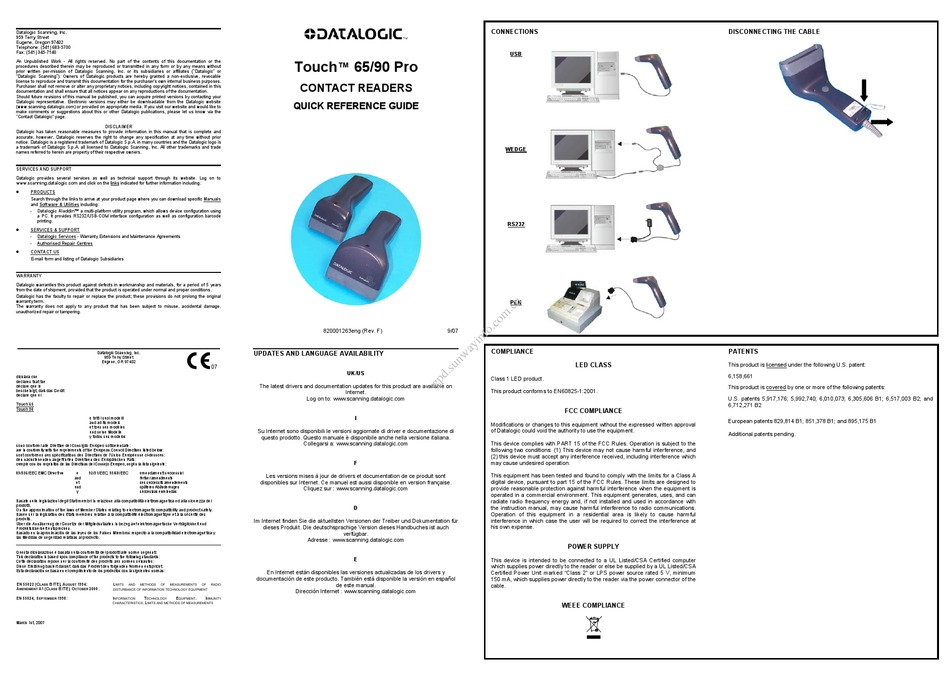 DATALOGIC TOUCH 65 PRO QUICK REFERENCE MANUAL Pdf Download