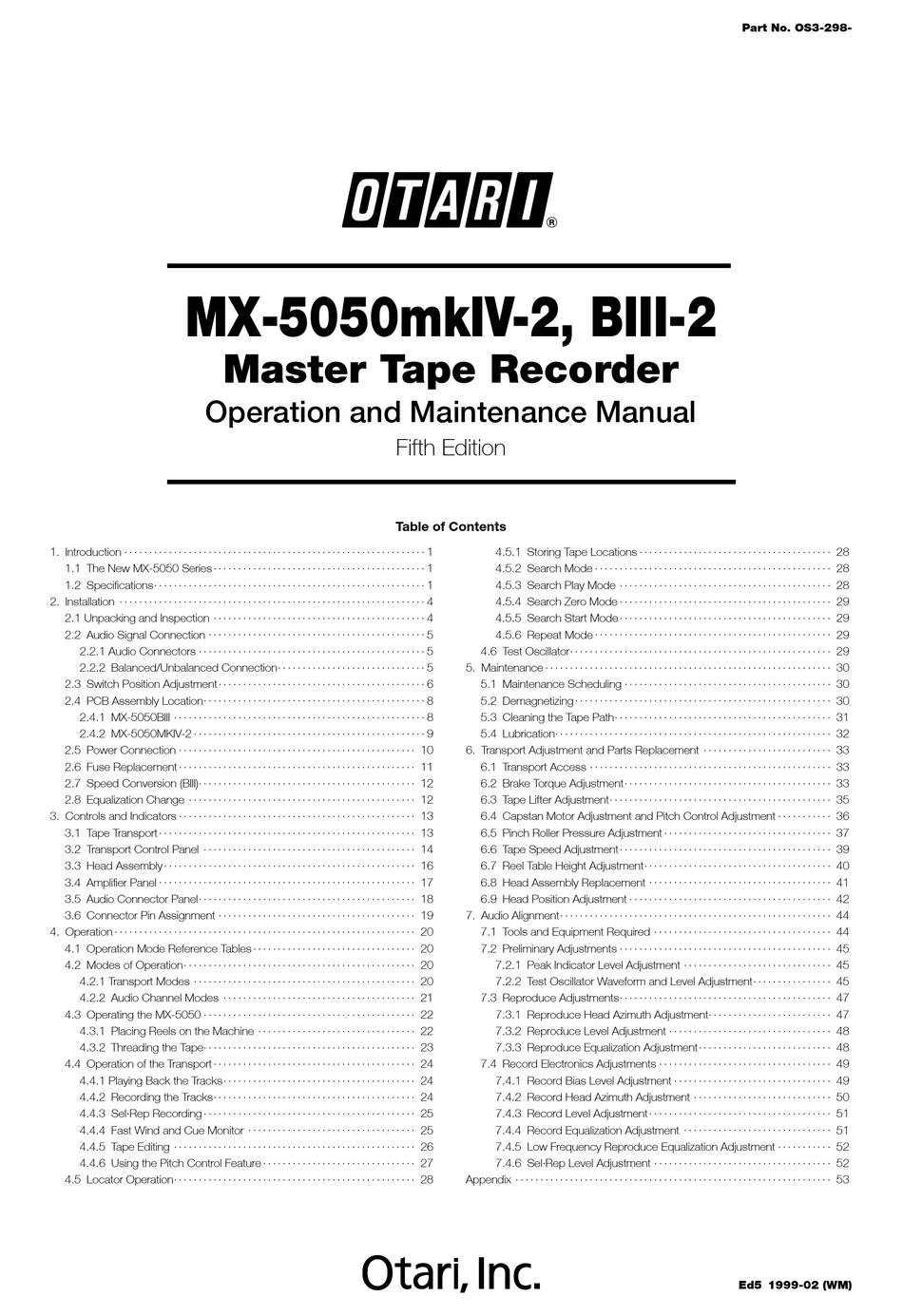 OTARI MX-5050MKIV-2 OPERATION AND MAINTENANCE MANUAL Pdf