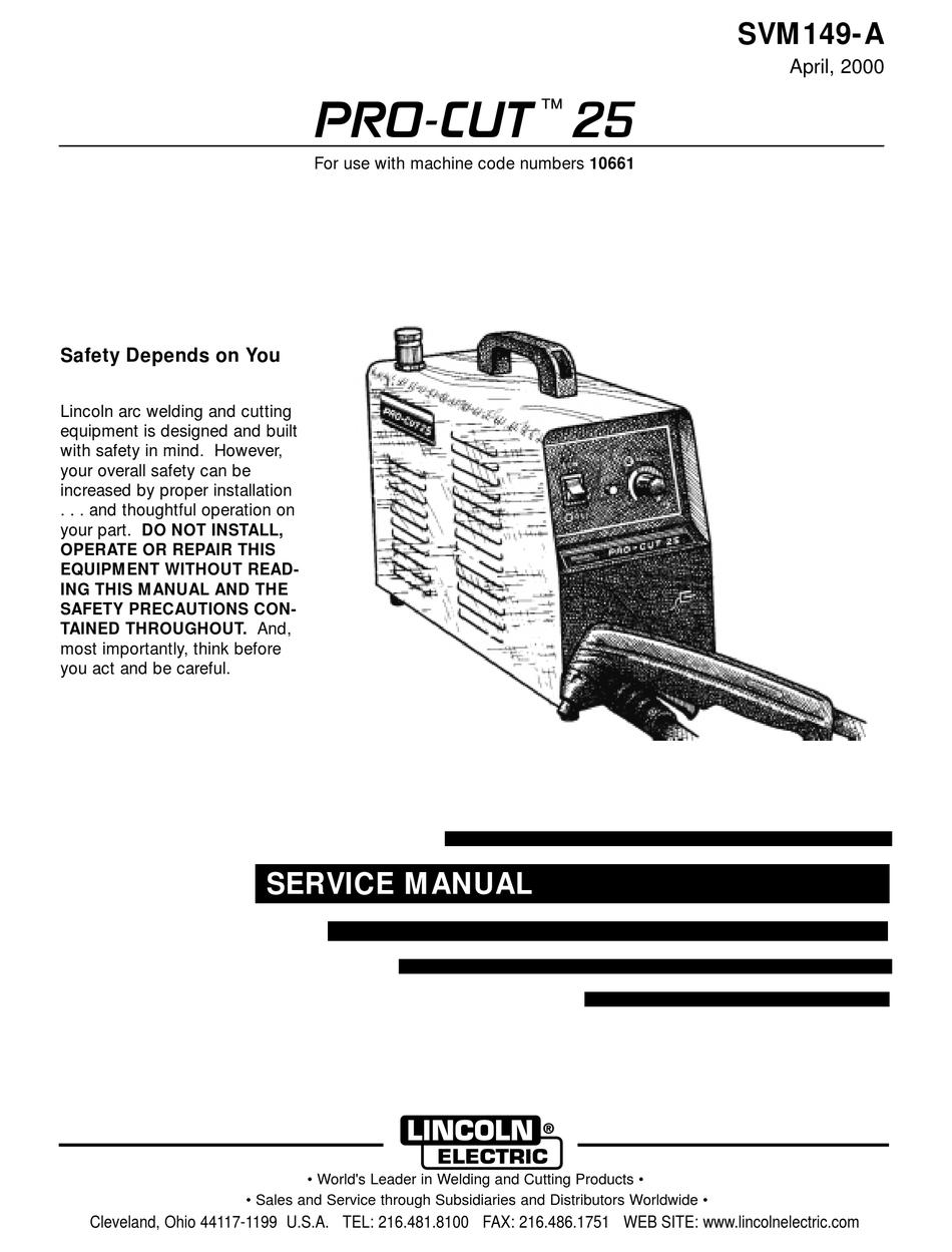 LINCOLN ELECTRIC PRO-CUT 25 SERVICE MANUAL Pdf Download