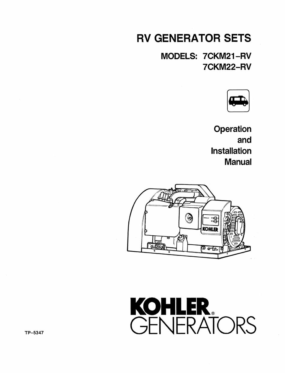 KOHLER 7CKM21-RV OPERATION AND INSTALLATION MANUAL Pdf