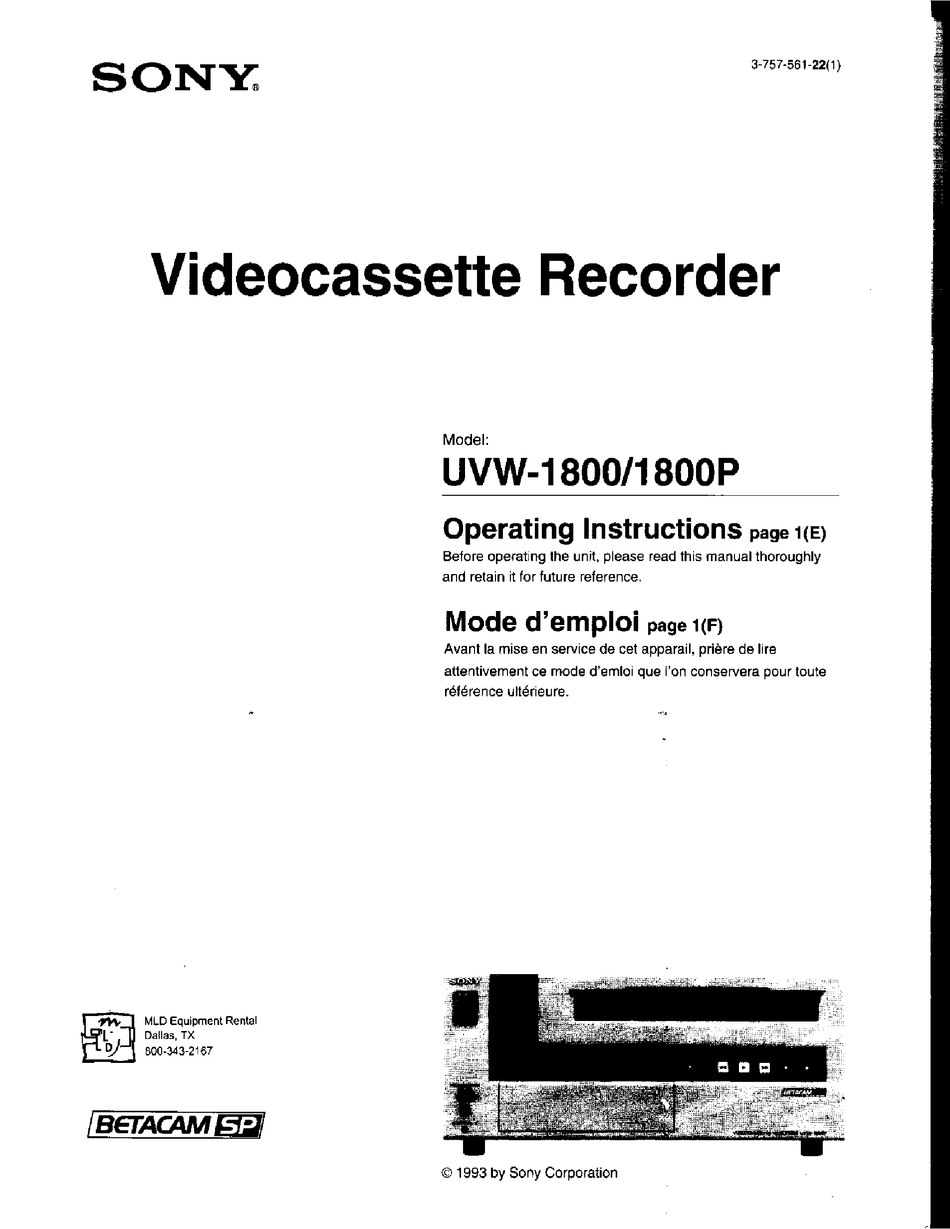 SONY UVW-1800P OPERATING INSTRUCTIONS MANUAL Pdf Download