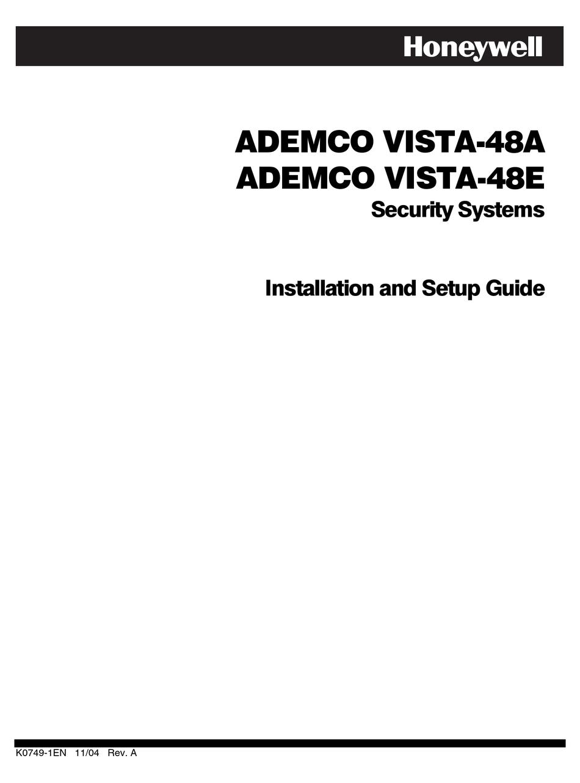 HONEYWELL ADEMCO VISTA-48A INSTALLATION AND SETUP MANUAL