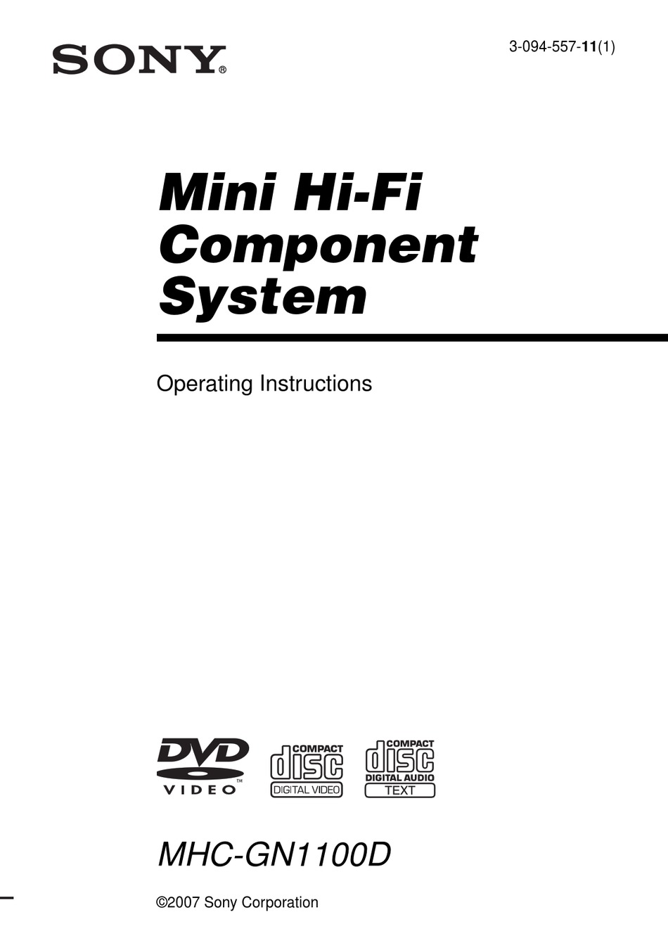 SONY MHC-GN1100D OPERATING INSTRUCTIONS MANUAL Pdf