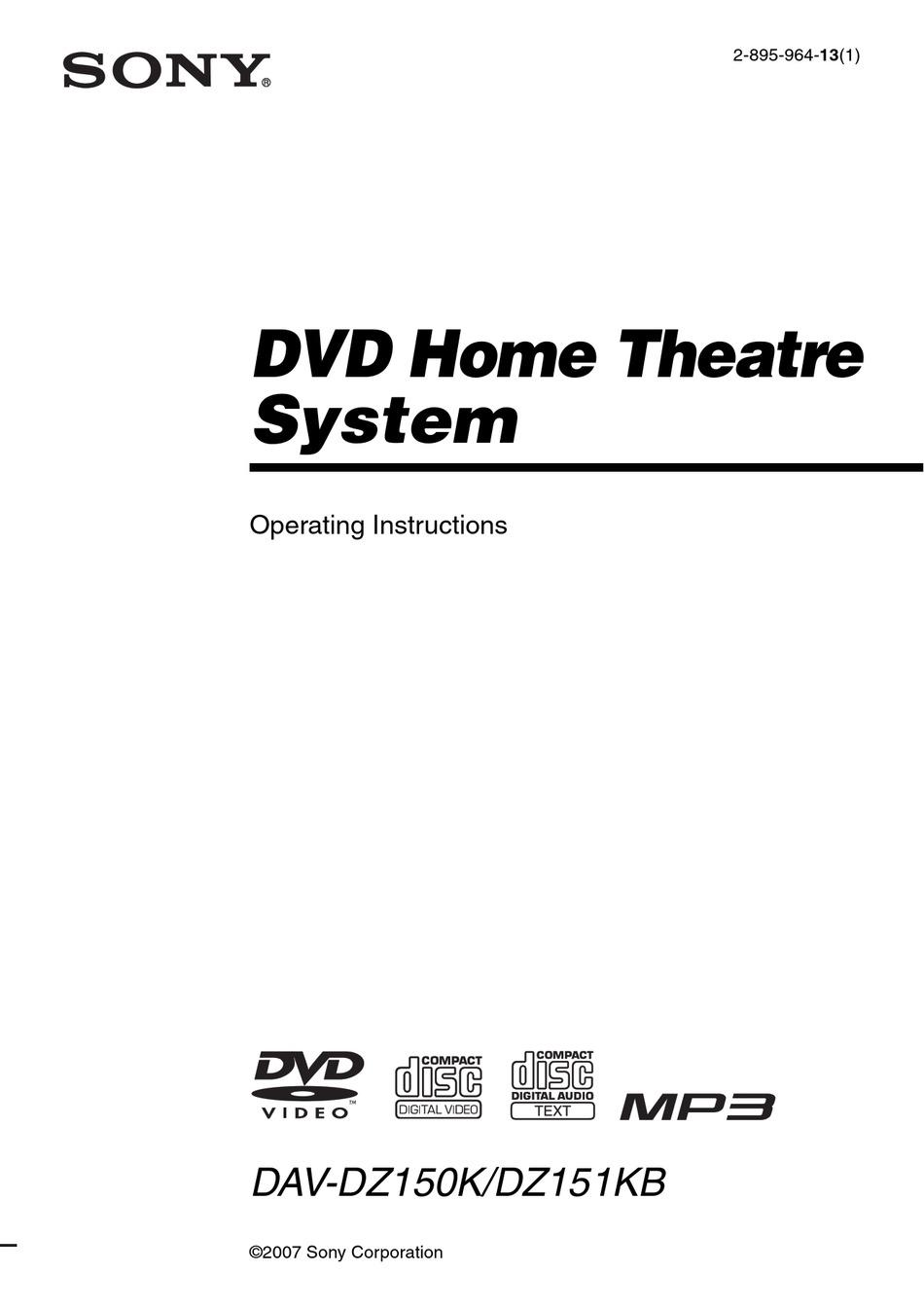 SONY DAV-DZ150K OPERATING INSTRUCTIONS MANUAL Pdf Download