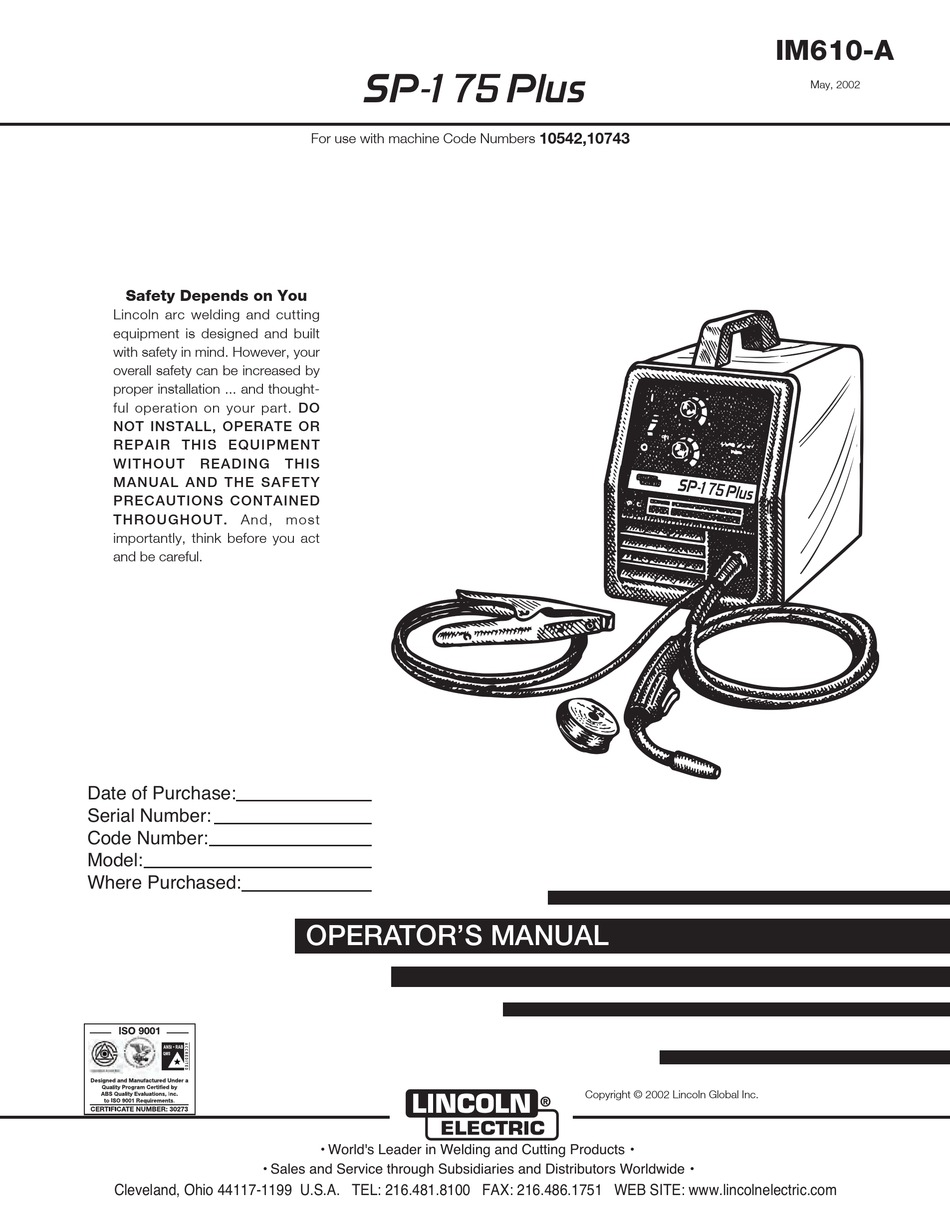 LINCOLN ELECTRIC IM610-A OPERATOR'S MANUAL Pdf Download