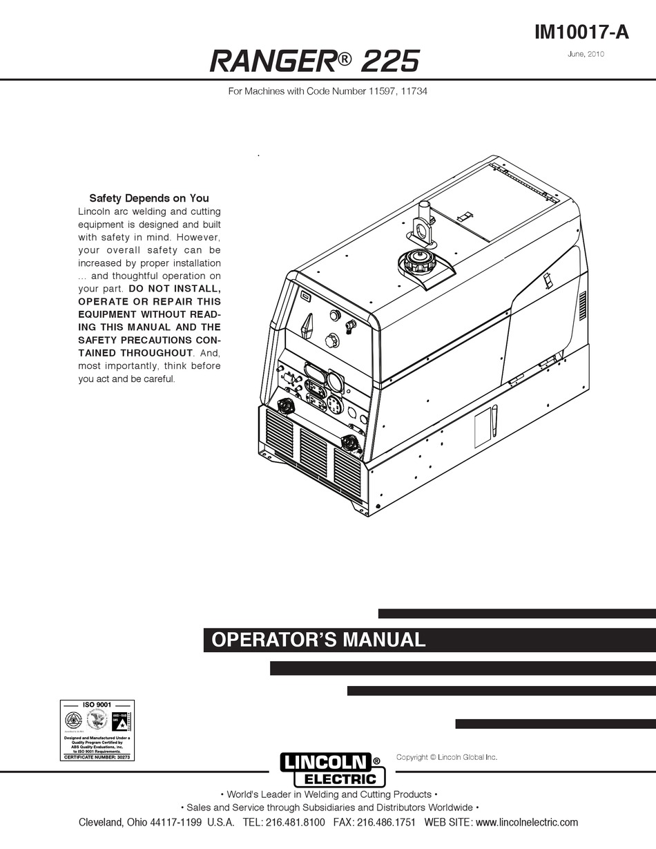 LINCOLN ELECTRIC RANGER 225 OPERATOR'S MANUAL Pdf Download