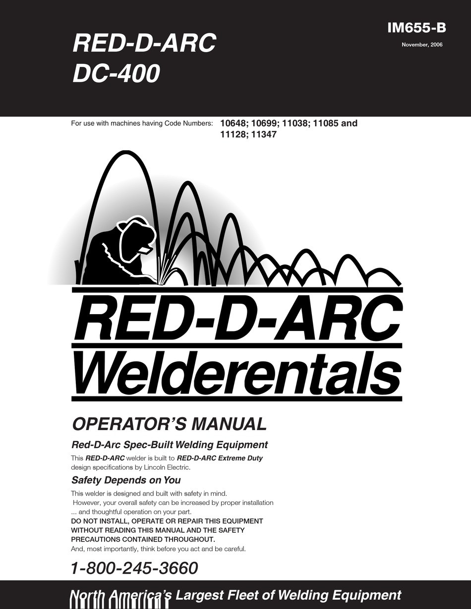 LINCOLN ELECTRIC RED-D-ARC DC-400 OPERATOR'S MANUAL Pdf