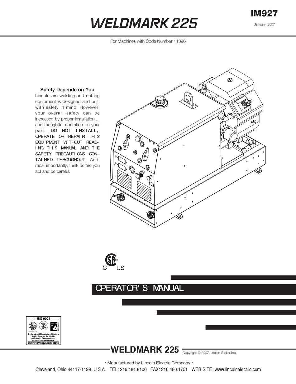 LINCOLN ELECTRIC WELDMARK 225 IM927 OPERATOR'S MANUAL Pdf