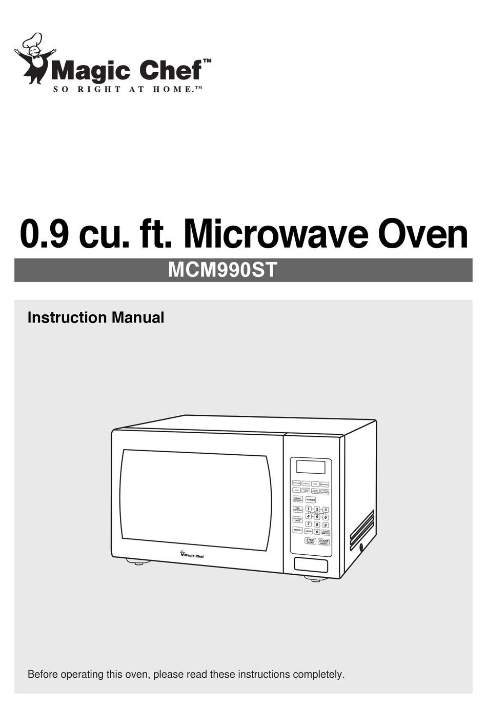 magic chef mcm990st instruction manual