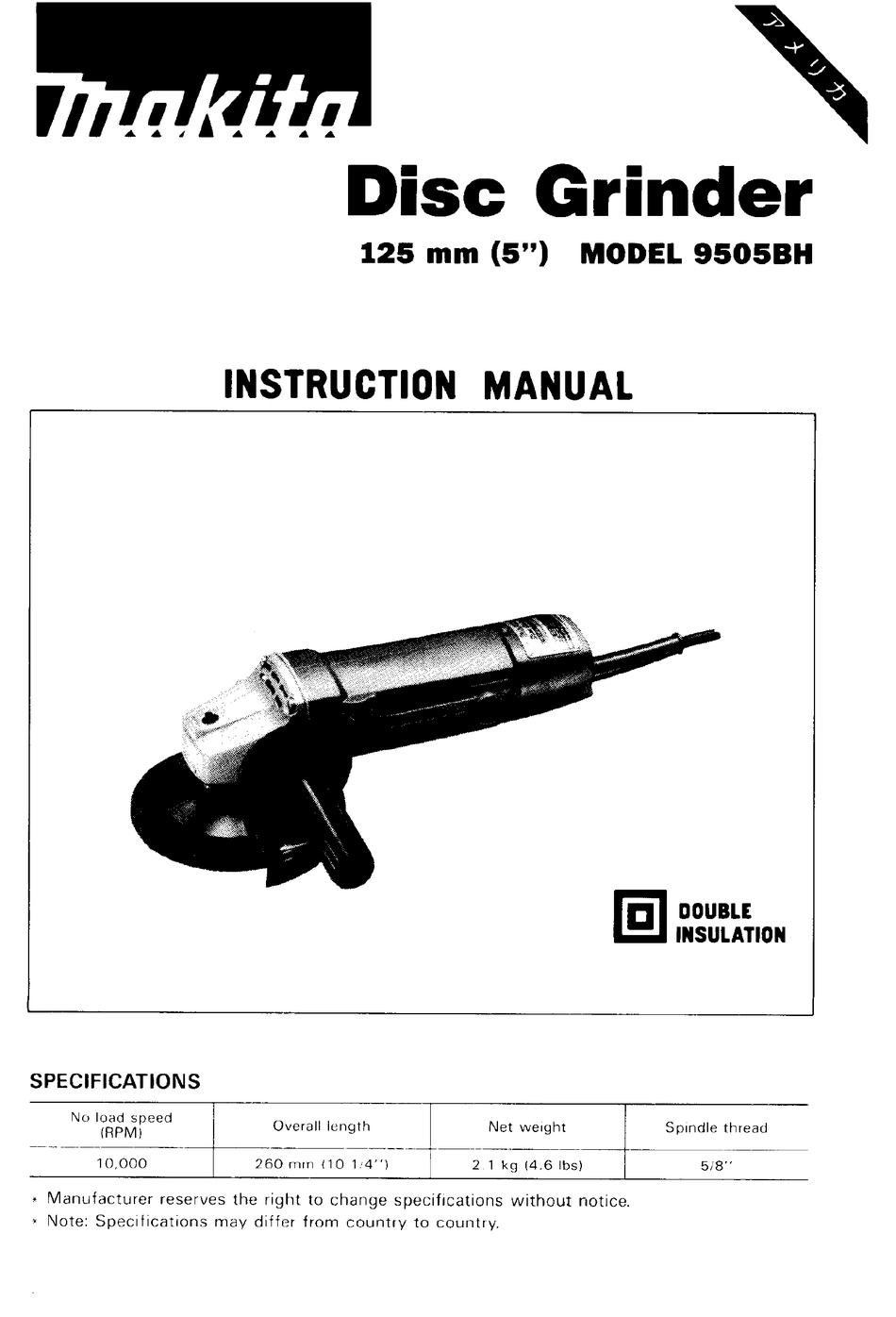 MAKITA DISC GRINDER 9505BH INSTRUCTION MANUAL Pdf Download