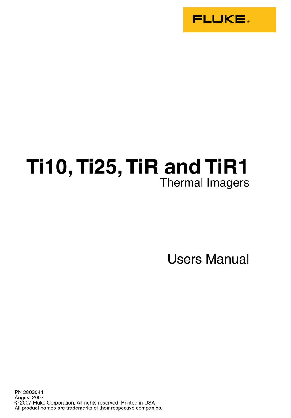 FLUKE THERMAL IMAGERS TI10 USER MANUAL Pdf Download