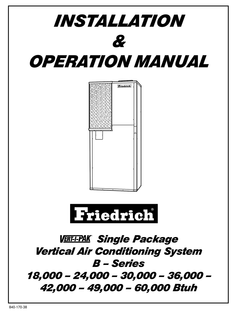 FRIEDRICH 0 INSTALLATION AND OPERATION MANUAL Pdf Download
