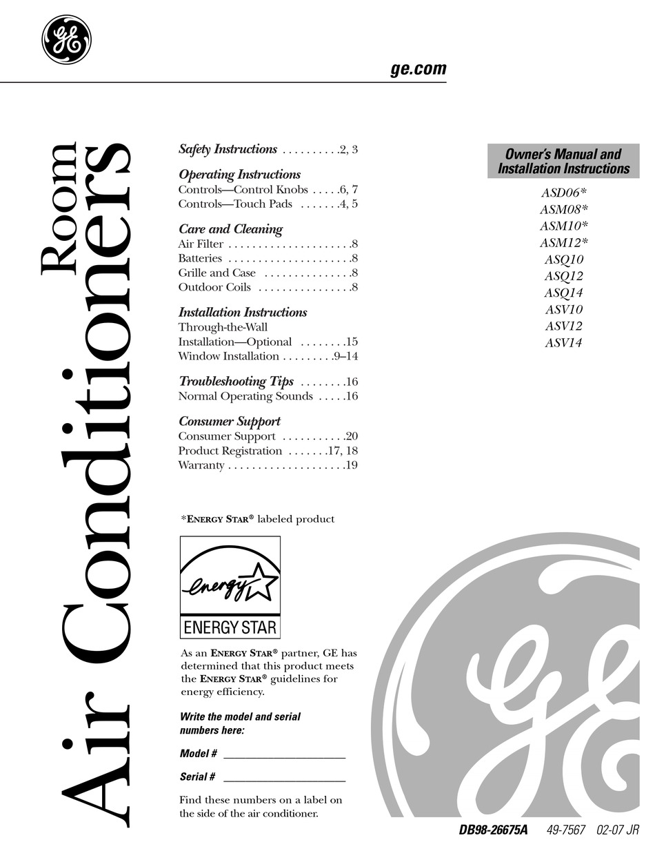 GE ASM12* OWNER'S MANUAL AND INSTALLATION INSTRUCTIONS Pdf