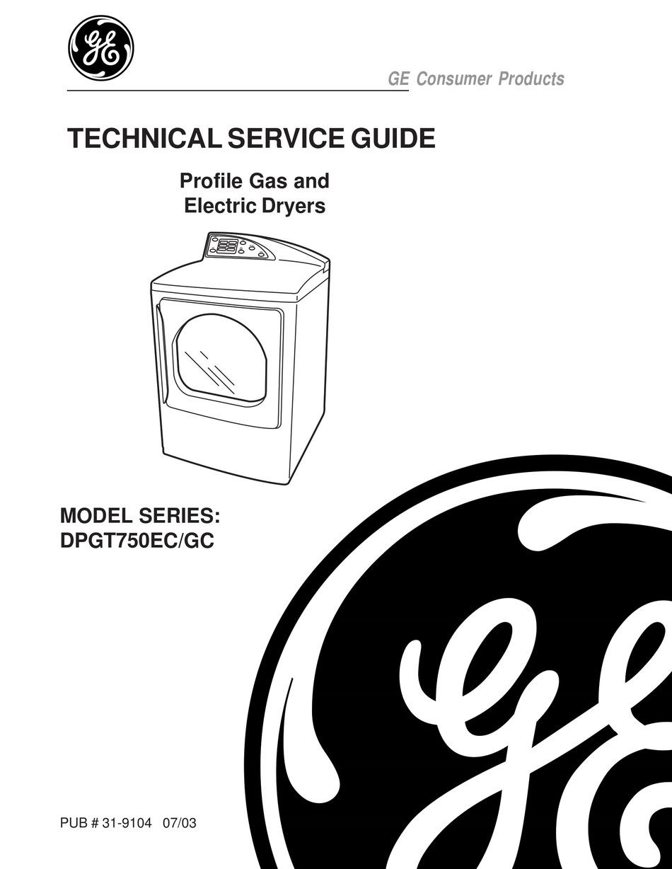 GE DPGT750EC/GC TECHNICAL SERVICE MANUAL Pdf Download