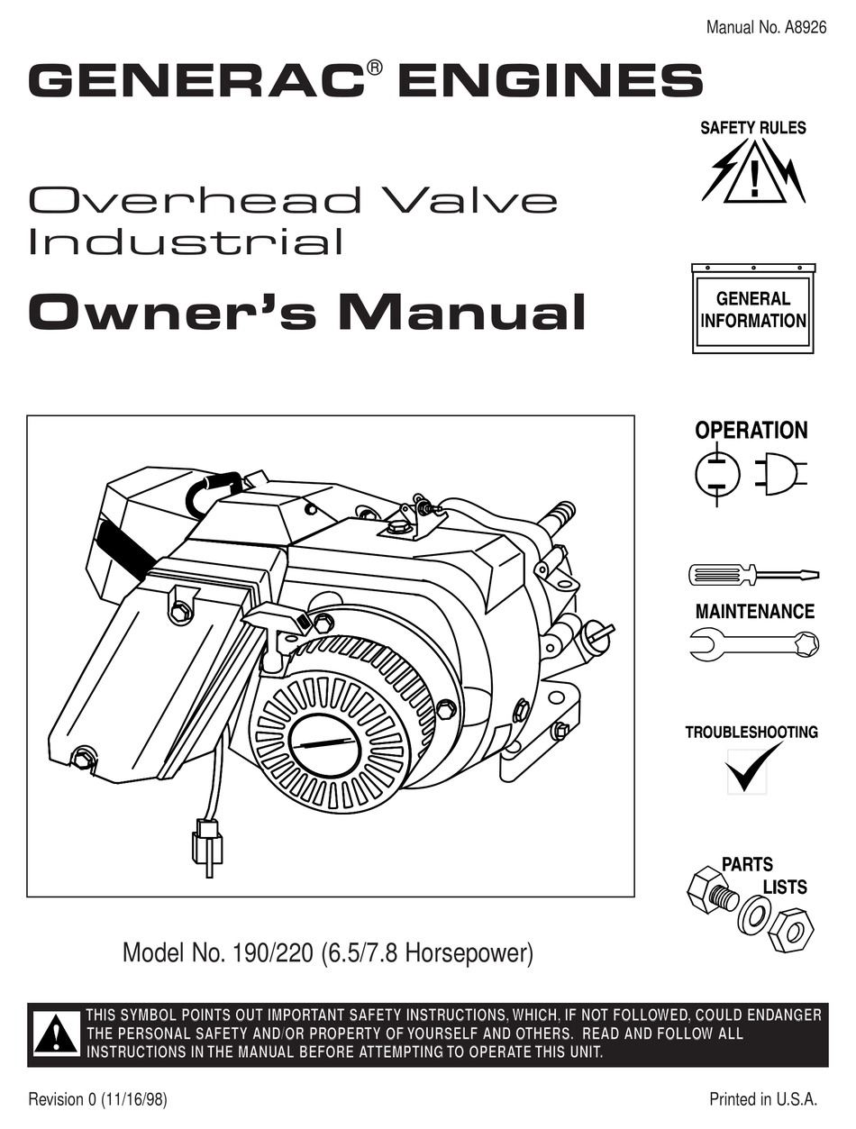 GENERAC POWER SYSTEMS 190/220 OWNER'S MANUAL Pdf Download