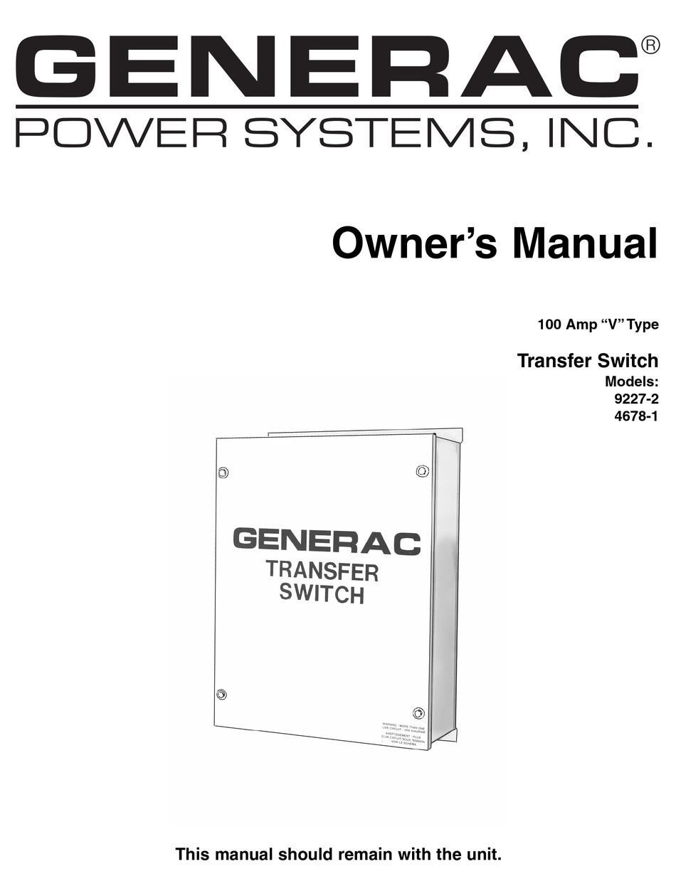 GENERAC POWER SYSTEMS 4678-1 OWNER'S MANUAL Pdf Download
