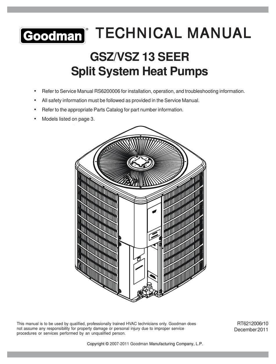 GOODMAN GSZ/VSZ 13 SEER TECHNICAL MANUAL Pdf Download