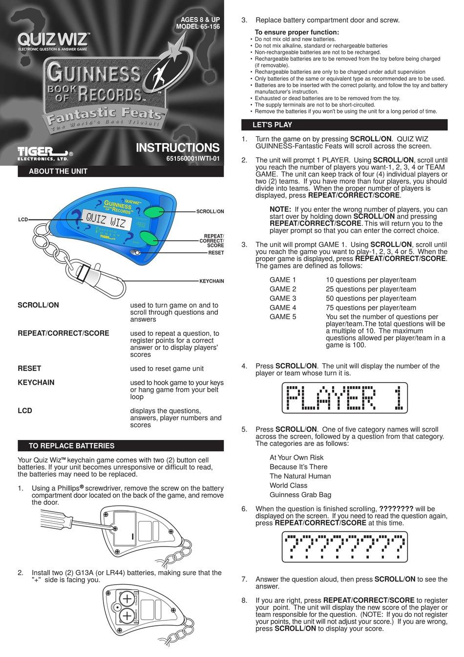 HASBRO QUIZ WIZ KEYCHAIN GAME 65-156 INSTRUCTION MANUAL