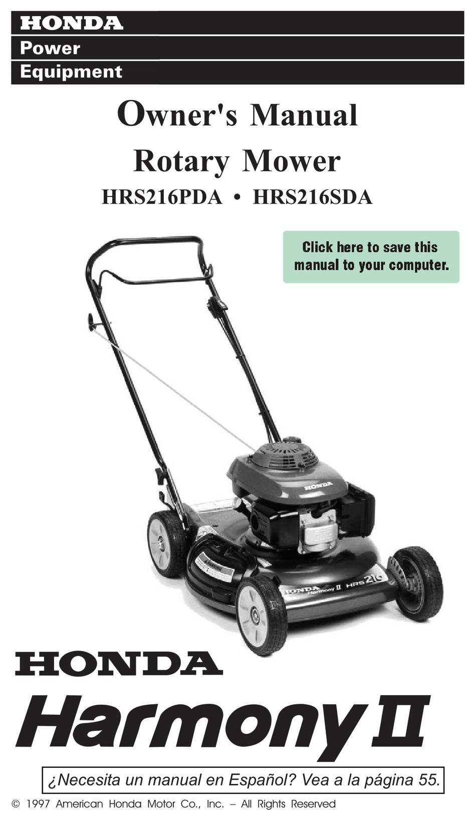 HONDA HARMONY II HRS216PDA OWNER'S MANUAL Pdf Download