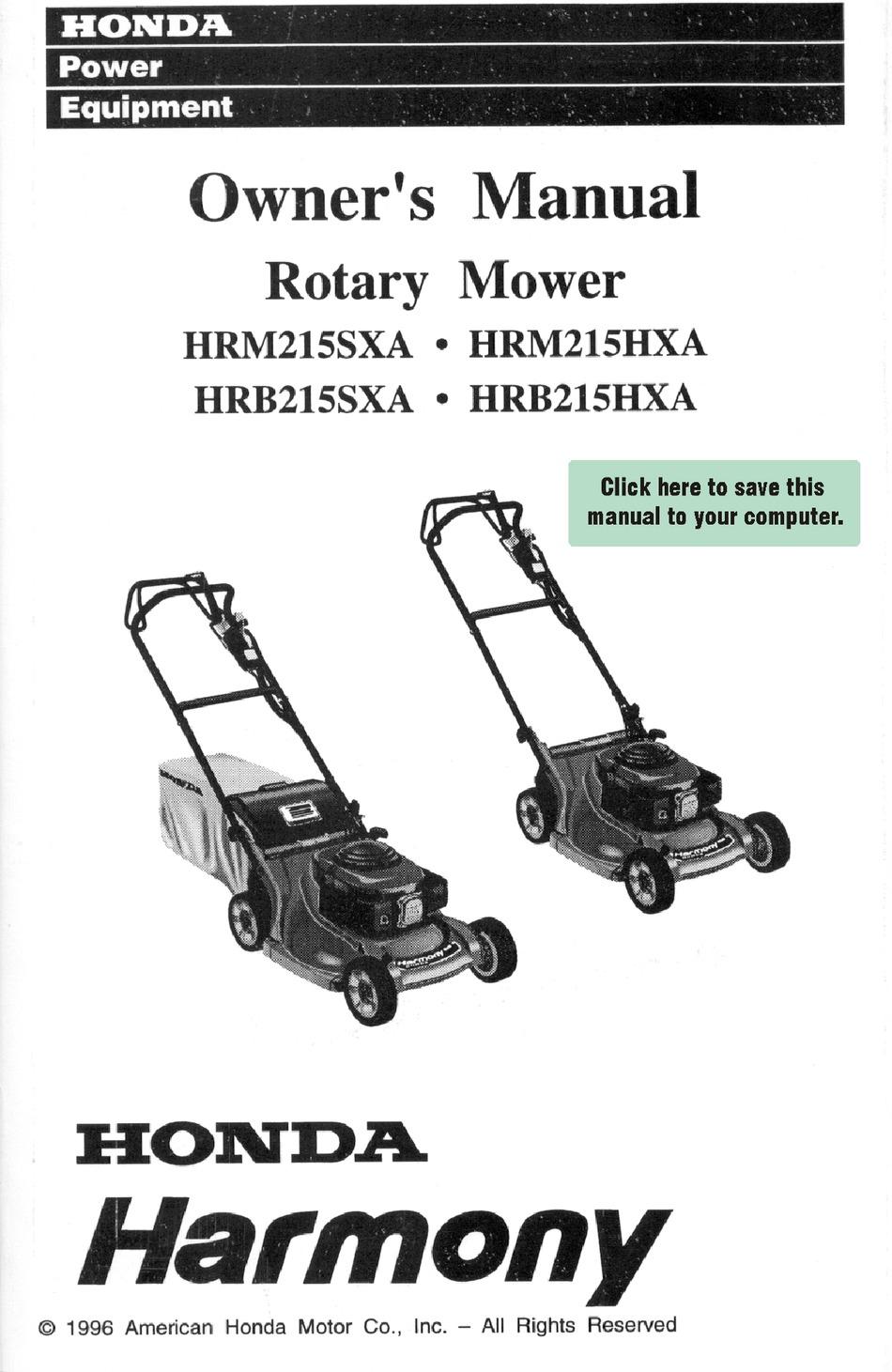 HONDA HARMONY HRM215SXA OWNER'S MANUAL Pdf Download