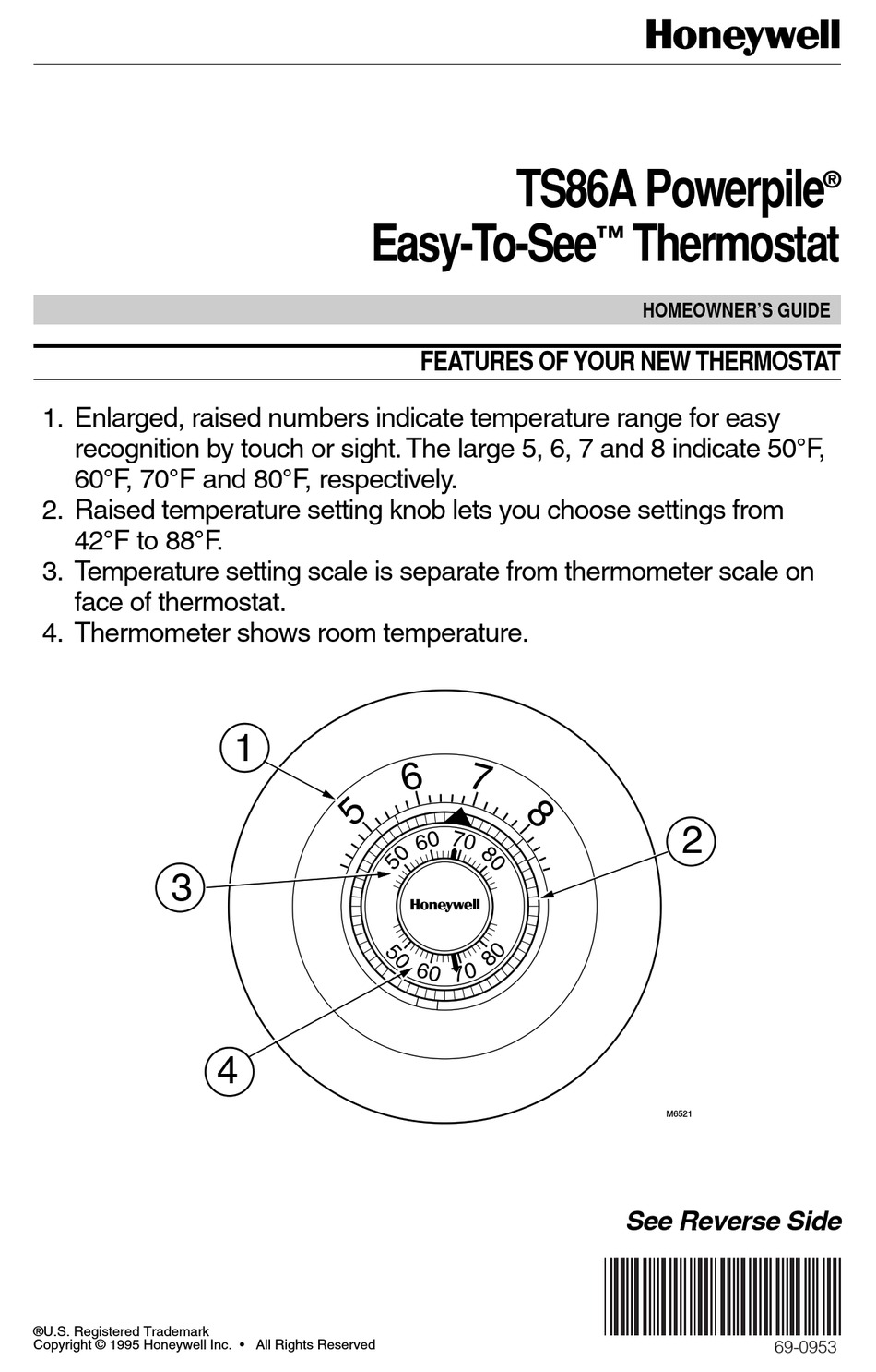 HONEYWELL EASY-TO-SEE POWERPILE TS86A HOMEOWNER'S MANUAL
