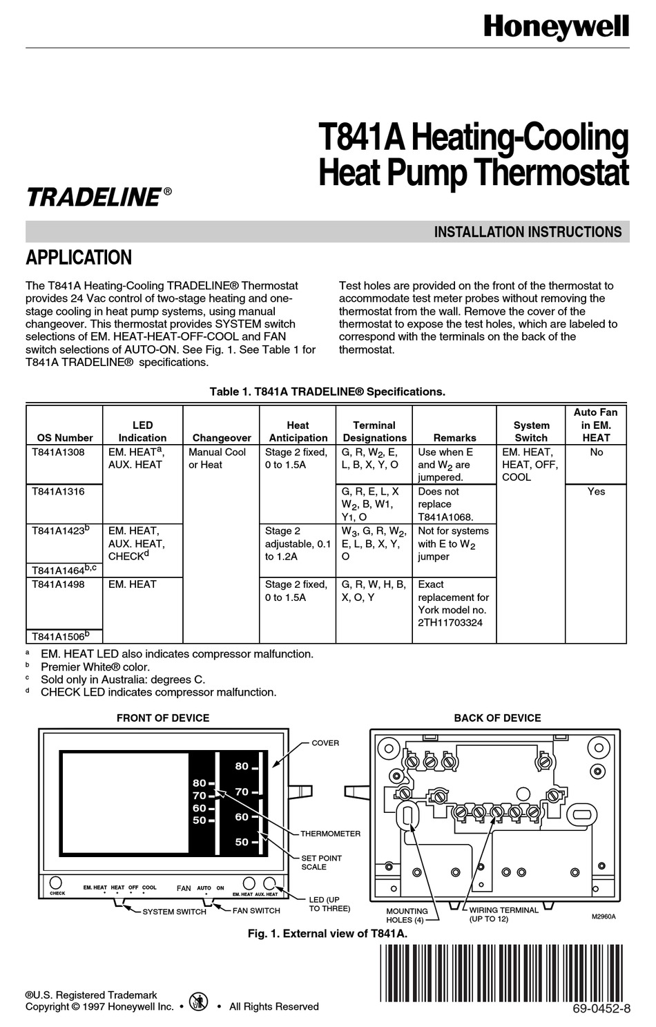 Honeywell Thermostat T8411r Wiring Diagram  Diagram 2012