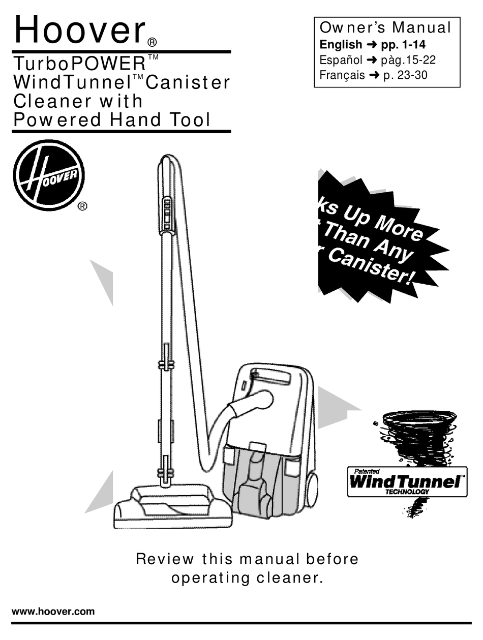 HOOVER TURBOPOWER TURBOPOWER WINDTUNNEL CANISTER CLEANER